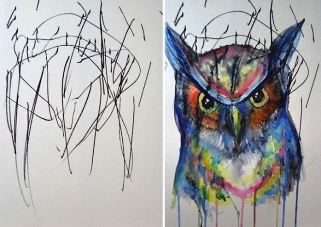 Эскизы 2-летней девочки превращены в рисунки
