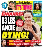 """Хоронят заживо(   таблоиды начали заживо хоронить знаменитость: """"Энджи умирает"""" - гласит обложка журнала """"National Enquirer""""."""