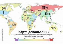 Карта девальвации в мире