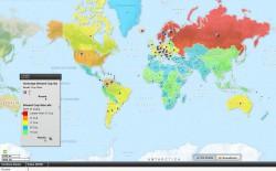 Средний размер сисек по странам