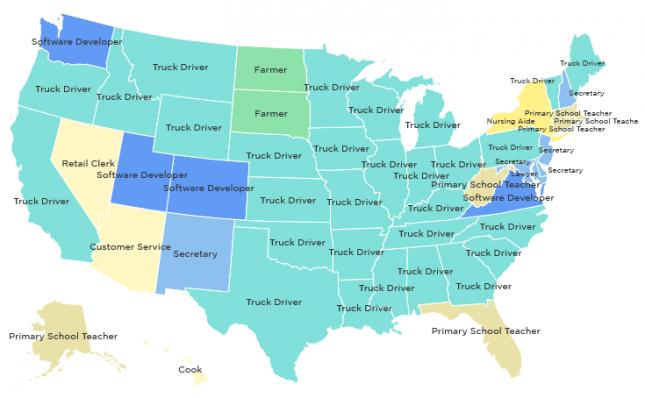На этой карте США отмечены самые популярные профессии 2014 года