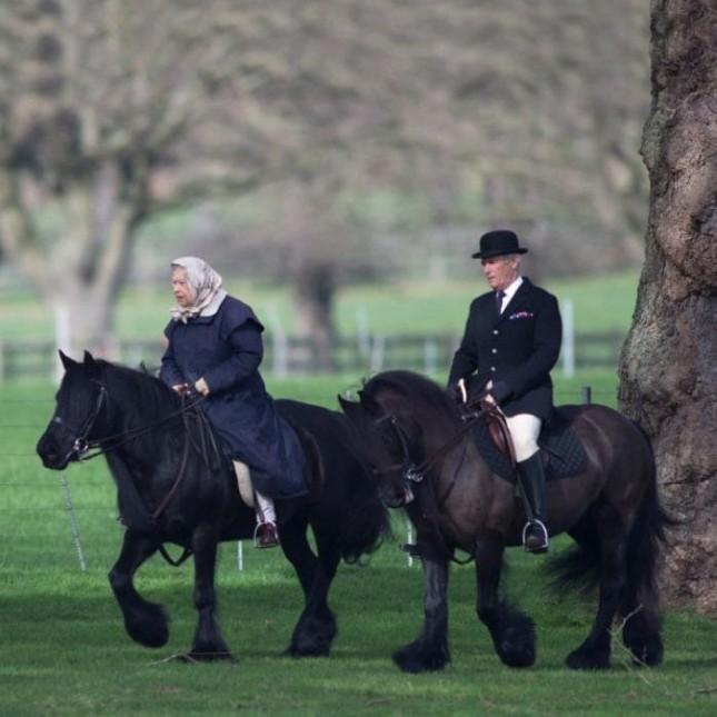 Давно не принцесса, но пони не брезгуетКоролева всея UK, верхом в свои 90.