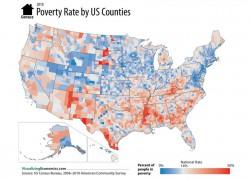 В каждом штате  есть округа, где уровень бедности приближается к 45-50% населения.