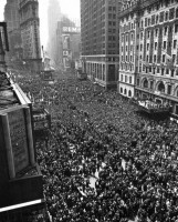 Two million people gathered in Times Square to celebrate the end of World War II, 1945