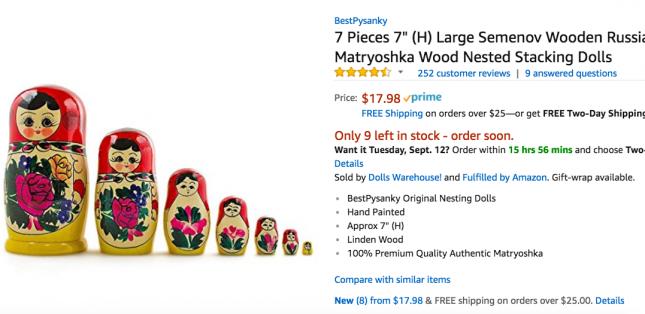 Русские матрешки в Америке продают Латыши всего за 17$