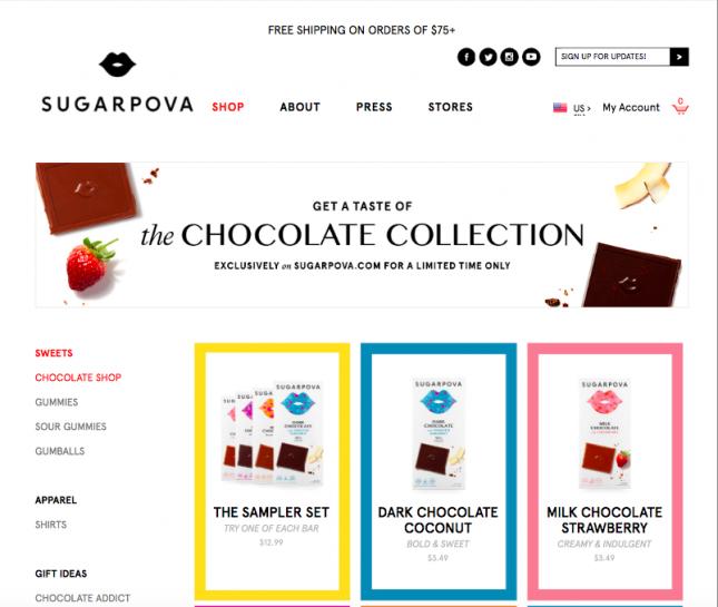 Шарапова в США под своим брендом продвигает шоколадки