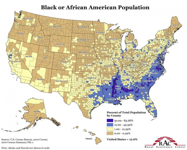 Плотность чернокожего населения США в процентах по регионам