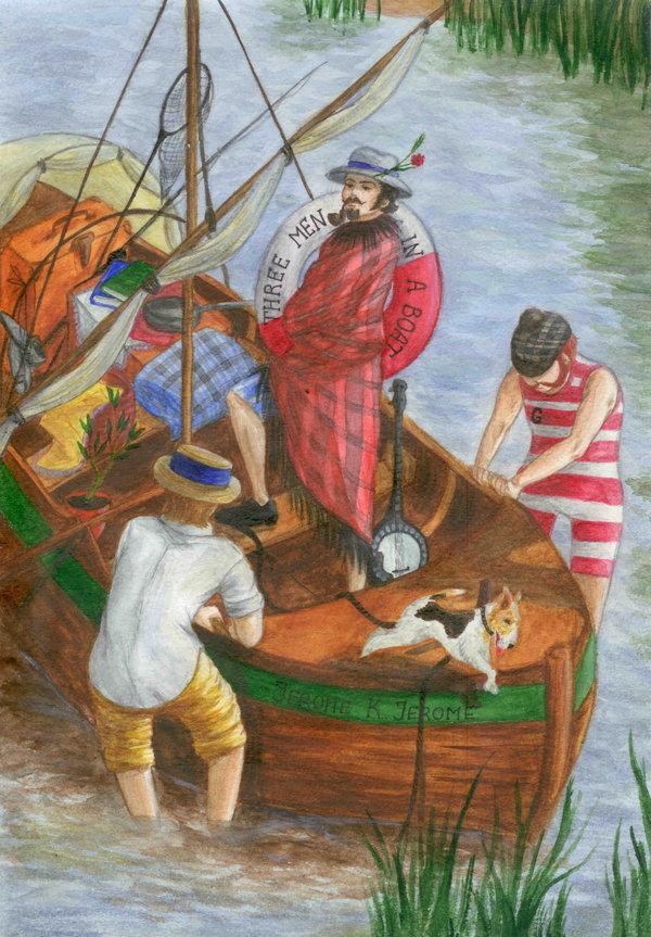 трое в лодке с переводом